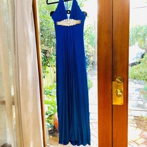 Blue formal dress with mid line detailing